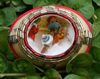 Vintage Chicken Egg Shell Christmas Diorama Metallic Trim Scene Fabergé Style - Red Velvet Embellished Decorated Egg Children and Baby Jesus