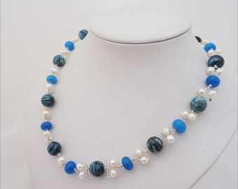 Pearls, Chrysocolla and Jade Necklace, Wire Wrapped Gemstone Necklace, Blue Gemstone Necklace, Handmade