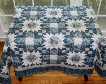 Blue and white large pieced lap or throw quilt 74 x 56 reversible homemade