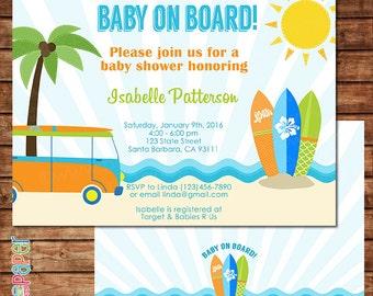 Baby on Board- Surf Theme Baby Shower Invitation- Beach, Surfboards, VW Van, Fun Baby Shower- Digital or Printed C201