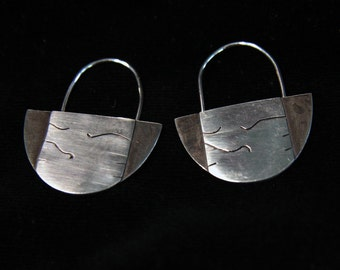 hand crafted sterling silver earrings, selectively oxidized