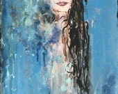 Abstract Painting / Girl with Long Black Hair / Intent Gaze / Raven Hair / Subtle Nude / Blue Original Painting of Woman / Dreamy Painting