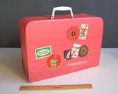1960s Juniorteen mini-suitcase overnight case teenager's overnight bag 50s suitcase 60s suitcase pink vinyl doll case