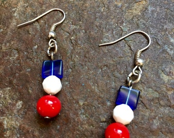 4th of July something red, white or blue Earrings Handmade in Chicago by VZuniga Designs