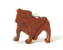 English Bulldog Necklace Hand Cut Wood Dog Breed Pendant Bulldog Jewelry Scroll Saw Sapele