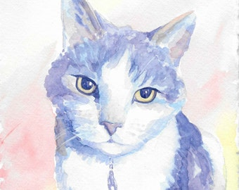 Custom Pet Cat Watercolor Painting - The Perfect Gift!