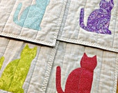 Quilted Placemats, Cat Placemats, Cat Decor, Fabric Placemats, Applique Placemats, Modern Placemats, Brown Placemats, Cat Lover Gift