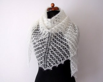 ecru wedding shawl, bridal cover up, silk and kid mohair, knitted lace wrap, off-white trangle scarf
