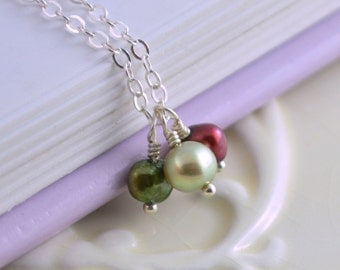 Holiday Necklace, Freshwater Pearl Jewelry, Red and Green, Adjustable Length, Wire Wrapped, Sterling Silver, Christmas Gift for Girls
