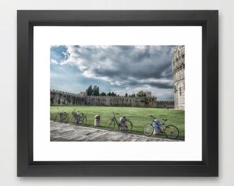 Bicycles in Pisa, Italy, Fine Art Photography, fPOE, Green, Blue, Grass, Bicycle, (6 Sizes)