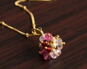 Valentine Jewelry, Morganite Garnet Gemstones, Gold Necklace, Dainty Satellite Chain, Real Stone Cluster, Pink and Red, Free Shipping