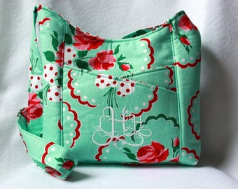 Cross Body Tote Bag in Aqua and Red Retro Florals with Dice