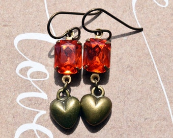 Heart Earrings, Niobium Earrings, Hypoallergenic, Vintage Glass, Red Hearts, Drop Earrings, Glass Jewels, UK Earrings