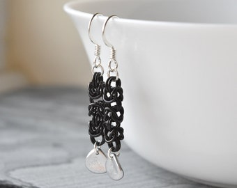 Chainmaille Earrings, Byzantine Weave, Silver Bead Earrings, Black and Silver, UK Earrings