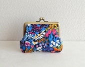 Small painter's meadow floral coin purse with Liberty fabric - Frame purse. Retro. Clasp purse. Magenta.