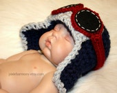 Newborn Baby Boy or Girl Aviator Hat w Goggles - Fly - Airplane Hat - Photo Prop - ANY Colors - Earflap Hat