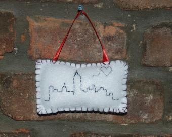 New York City skyline embroidered Christmas ornament