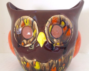 Ceramic Owl Planter - Autumn Fall Flower Pot - Brown Owl Utensil Holder