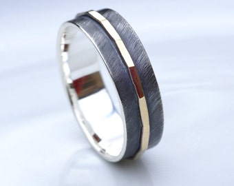 Textured Ring - Silver and Gold Two Tone Wedding Band