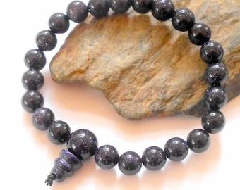 Blue Goldstone Mala Power Bracelet Wrist Malas earthegy
