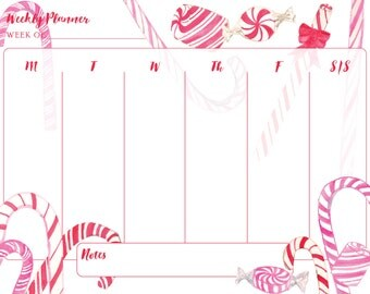 Weekly Planner - Candy Cane/Holiday/Christmas/Peppermint/Candy - Calendar/Schedule/Itinerary/Printable Calendar/Printable Planner