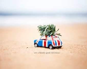 Union Jack MINI on the Beach Christmas Photo Card, Christmas Beach Photography, Beach Xmas Photo Card, Australian Beach Christmas Photo Card