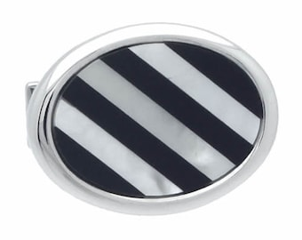 Black & White Stripe Shell Cufflinks