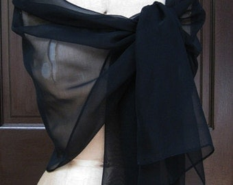 Black  Chiffon Shawl Wrap XL