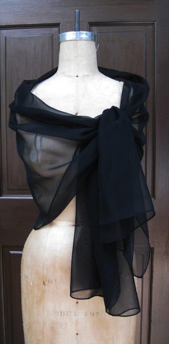 Black  Chiffon Shawl Wrap XL