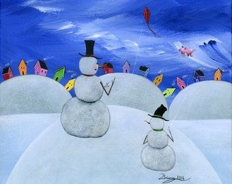 Hilly High Up Giclée Archival Print - Canvas or Paper - Various Sizes - Winter snowman father and son flying a red kite and pink pig balloon