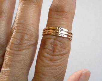 Tiny Letters 14k Personalized Skinny Band Stacking Rings 1mm Letters and Numbers Yellow Gold Rose Gold or White Gold