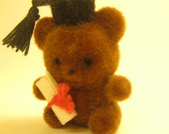 Vintage Miniature Graduation Teddy Bear Craft Supplies Embellishments