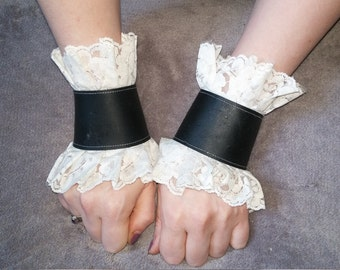 Black leather and white lace cuff set