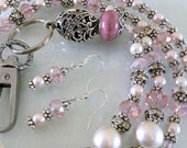 Antique Silver and Pale Pink Pearl and Swarovski Crystal Lanyard