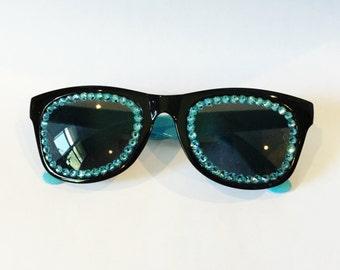 BLACK AND BLUE Non Prescription Swarovski Sunglasses