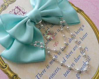 Sweet Lolita Hair clip or Brooch Aqua bow with glass heart and white pearl beads