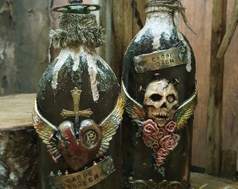 Gothic Twin, Carpe Diem & Carpe Noctem - Mixed Media Altered Bottle Art