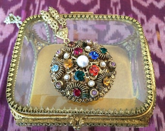 60s statement necklace, rhinestones, pearls, and gold filigree