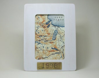 Lake Tahoe Sierra Nevada Fallen Leaf Lake Map Framed with Hand Stamped Date on Brass Vacation Hostess Gift