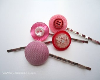 Vintage buttons hair clips - Pop of pink fabric rhinestone neon modern chic swirl scroll set of 4 embellish hair decorations accessories