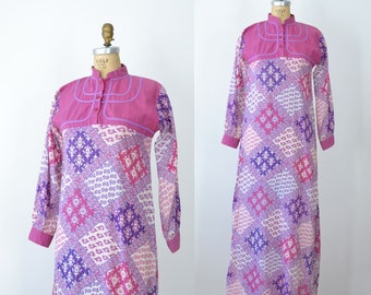 1970s Block Print Caftan / 70s Pakistani Indian Cotton Gauze Dress