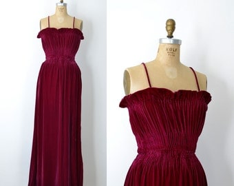 1930s Velvet Bias Cut Gown / 30s Magenta Dress