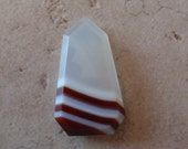 Striped Agate Red Rust White Clear Free Form Beveled Edge Cab 10