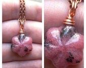 AUTUMN SALE 15% OFF Wire Wrapped Rhodonite Flower Necklace