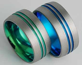 Titanium Rings , Odyssey Bands in New Beginning Blue and Immortal Green