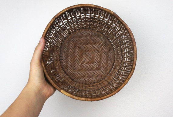 Handmade Basket Companies : Vintage handmade storage basket rounded bowl shaped