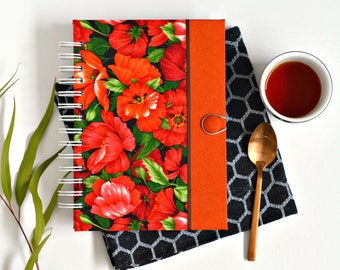 Fabric journal // POPPY PARADE hardcover spiral notebook jotter diary