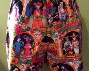 Size Large Day of the Dead Womens Cotton Slumber Party, Lounge, Sleep, Play Shorts, Boxers.