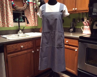 Plus Size Apron, Pinafore apron, Japanese utility apron, Chambray Fabric, No Ties Apron, Smock,Jumper