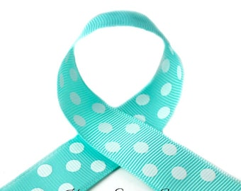 Aqua Polka Dots 7/8 inch Polka Dot Grosgrain Ribbon - Polka Dot Ribbon, Polka Dot Hair Bow, Polka Dot Bow, Ribbon By The Yard